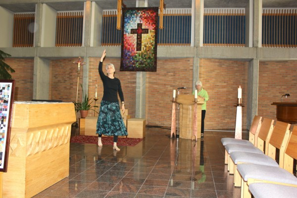 Joetta Schlabach worshiping through interpretive dance